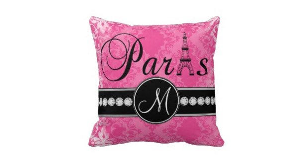 Hot Pink Damask Black Parisian Monogram Pillow