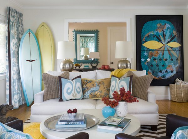 15 awesome beachy living rooms home design lover for Modern cottage living room ideas