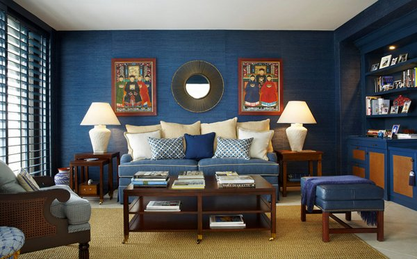 Interesting Combination Of Brown And Blue Living Rooms Home