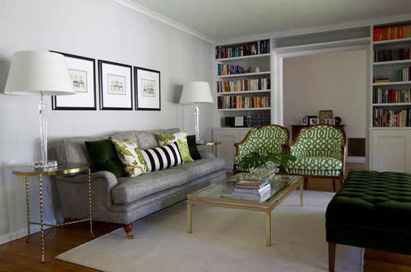 15 lovely grey and green living rooms home design lover for Green and grey living room