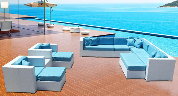 White Santorini Outdoor Wicker Sectional Furniture