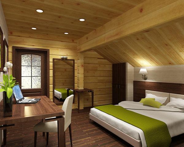 Дизайн спальни на мансардном этаже деревянного дома