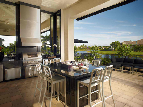 15 awesome contemporary outdoor kitchen designs home for Modern outdoor kitchen designs