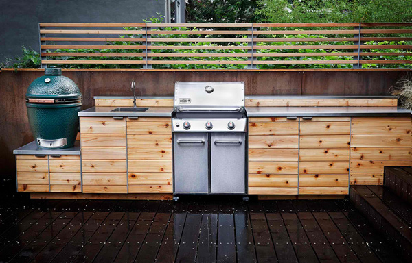 15 awesome contemporary outdoor kitchen designs home for Cedar outdoor kitchen cabinets