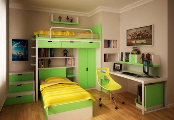 Yellow Green Teen Bedroom