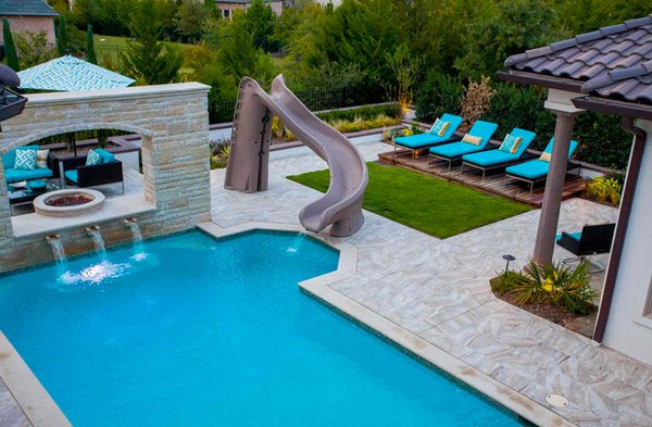 Modern Pool Designs With Slide 15 gorgeous swimming pool slides | home design lover