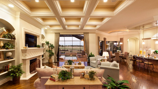 15 Beautiful Traditional Coffered Ceiling Living Rooms | Home Design Lover - 15 Beautiful Traditional Coffered Ceiling Living Rooms Home
