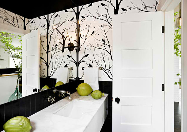 black and white wallpaper in 15 bathrooms and powder rooms home design lover. Black Bedroom Furniture Sets. Home Design Ideas