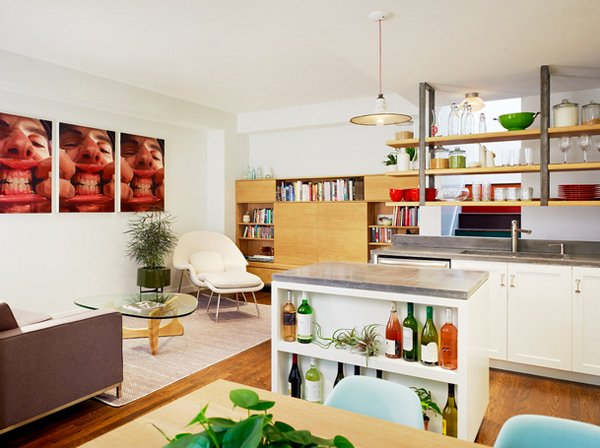 15 marvelous mid century kitchen designs home design lover - Open shelving living room ...