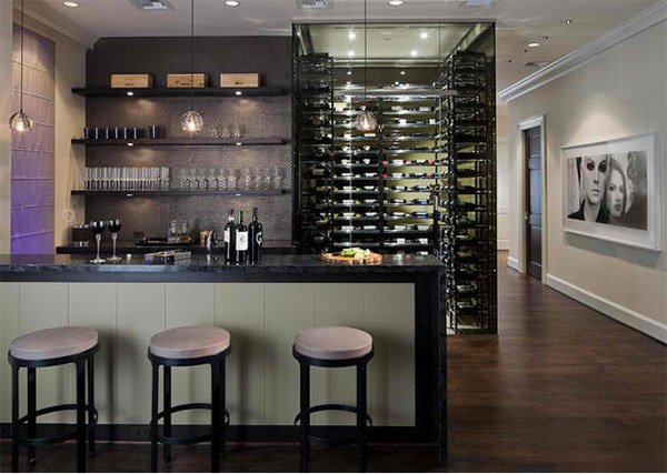 15 sleek ideas for modern wine cellars home design lover for Modern home decor dallas