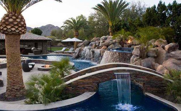 Swimming Pool Bridge Build : Relaxing and dramatic tropical pool designs home