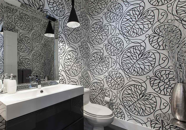 black and white wallpaper in 15 bathrooms and powder rooms. Black Bedroom Furniture Sets. Home Design Ideas