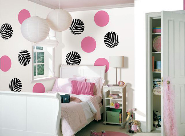 Bedroom polka dots Walls. How to Design Bedroom Walls with Polka Dots and Circles   Home