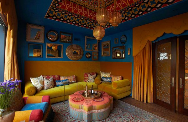 Impressive Moroccan Living Rooms Modern Ceiling Design Vibrant Moroccaninspired Throughout Models