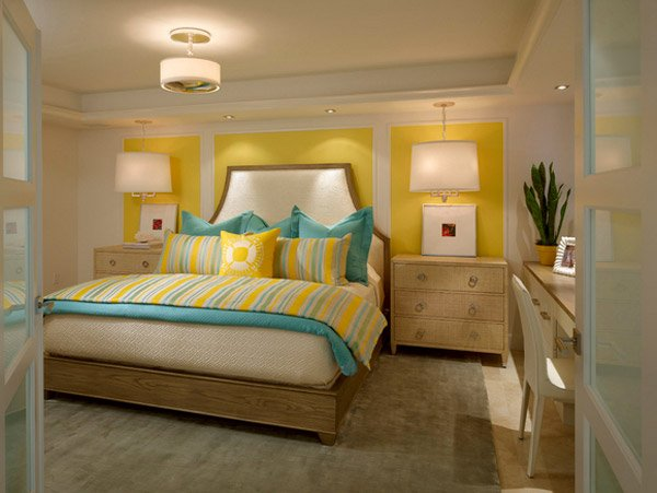 15 gorgeous grey turquoise and yellow bedroom designs for Yellow grey bedroom designs