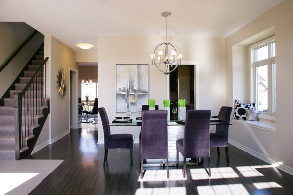 15 posh purple dining room furniture home design lover for Model home dining room