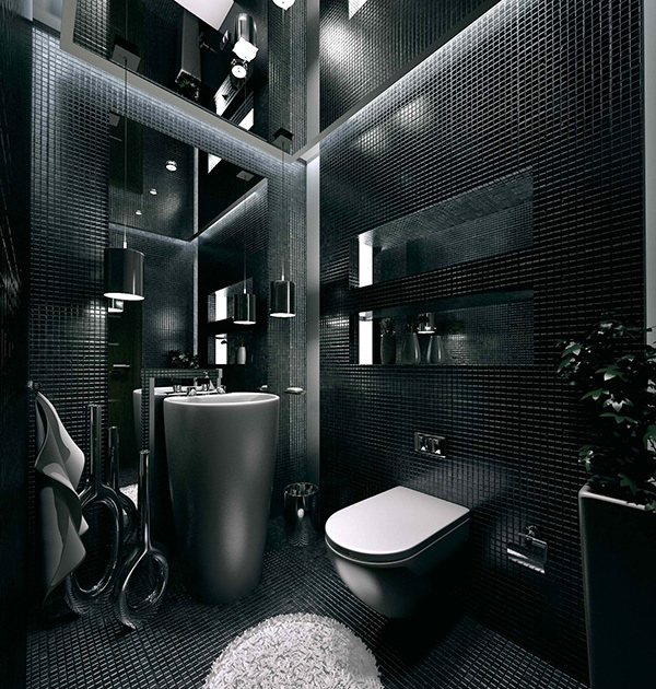 20 sleek ideas for modern black and white bathrooms home for Bathroom designs black