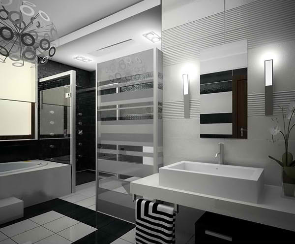 20 sleek ideas for modern black and white bathrooms home for Modern black and white bathroom ideas