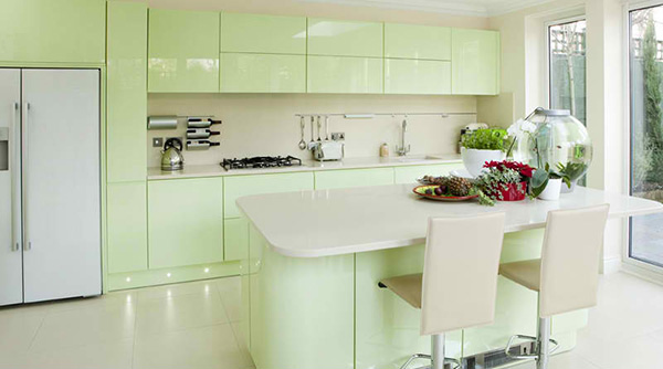 Image Result For Green Kitchens With White Cabinets
