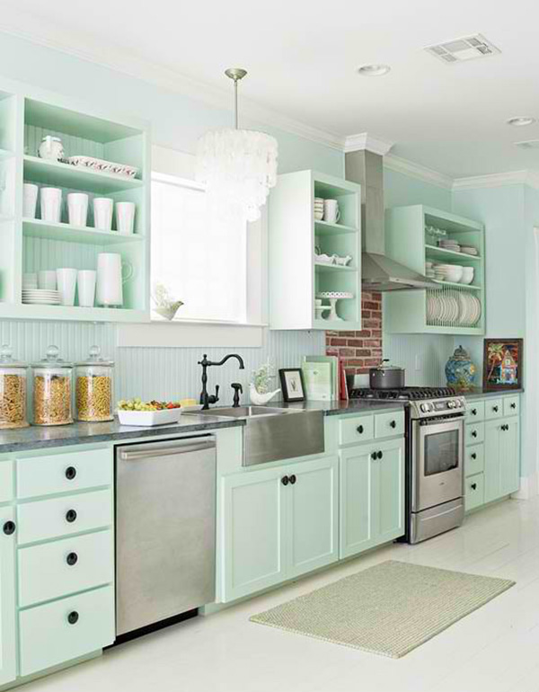 White Floor In This Cottage Style Kitchen That Embraces Pastels In It