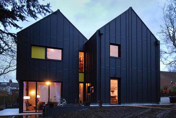 Merrodown the black zinc house in england home design lover for Modern zinc houses