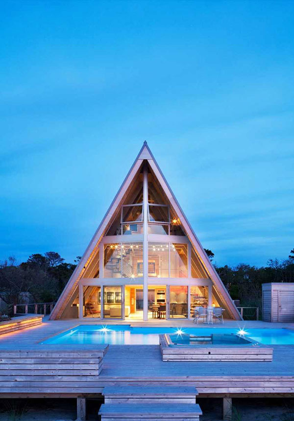 a-frame residence: a striking remodel of a 1960s beach house