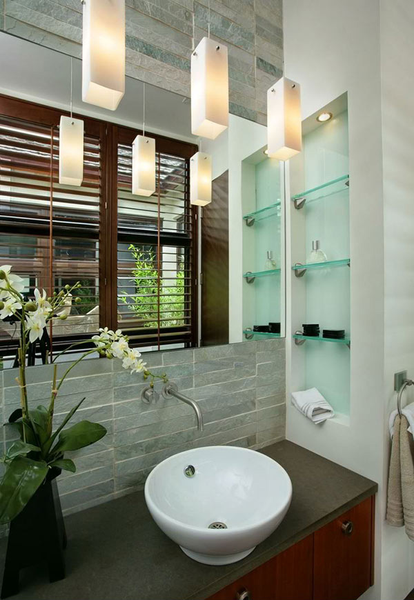 Bathroom Spaces With Glass Shelving Home Design Lover