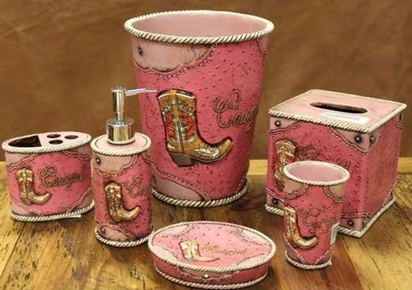 15 chic pink bathroom accessories set for Cowgirl bathroom ideas