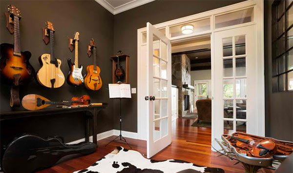 15 design ideas for home music rooms and studios home for Room decorating ideas music