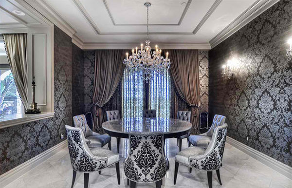 15 Dining Rooms With Damask Wall Patterns – Damask Dining Room Chairs