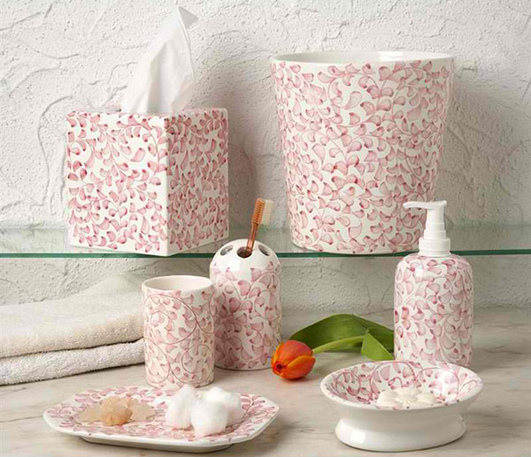 Casafina French Twist Pink Bathroom Set - 15 Chic Pink Bathroom Accessories Set Home Design Lover