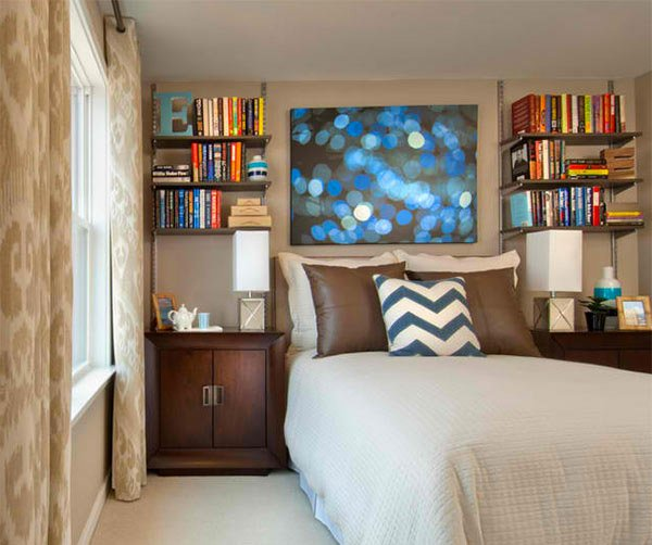 bedroom bookshelves designs