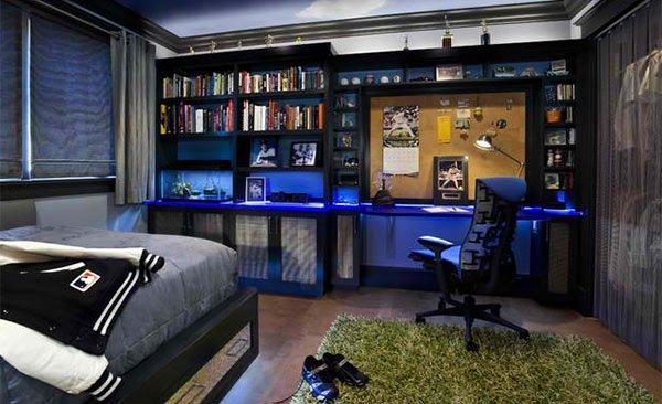 Thiết kế giường ngủ đẹp với giá sách gọn ngàng