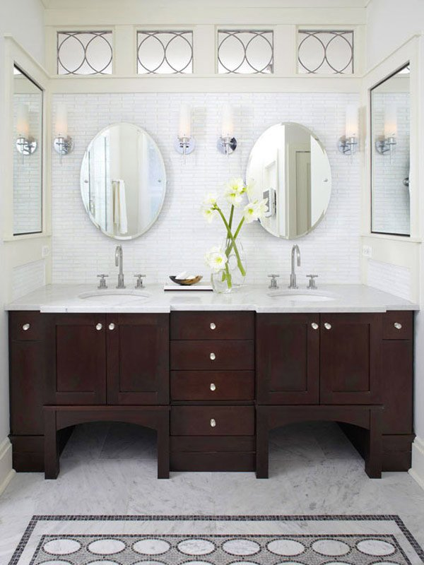 Popular Wallpaper Dark Wood Corner Bathroom Vanity Among Track Sconces Also