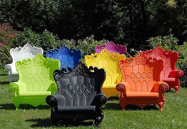 outdoor colorful throne chair