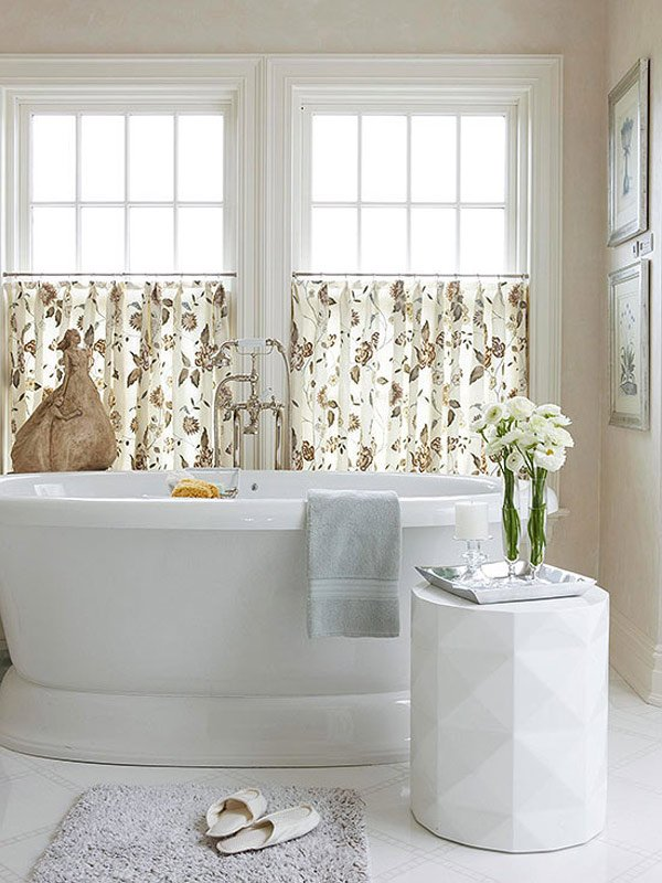 20 designs for bathroom window treatment home design lover Bathroom window curtains