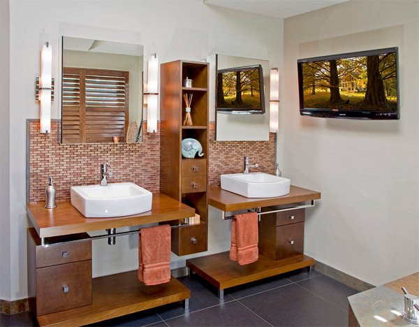 20 classy and functional double bathroom vanities home for Earthy bathroom designs