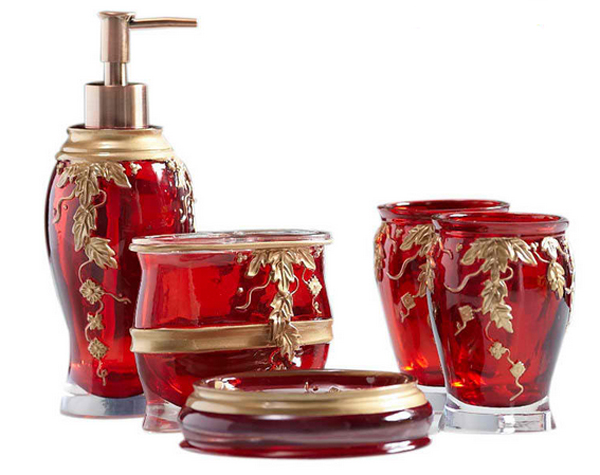 20 fascinating red bathroom accessories home design lover for Red and gold bathroom accessories