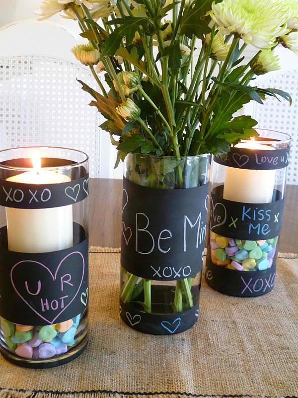 DIY Chalkboard Flower Vases