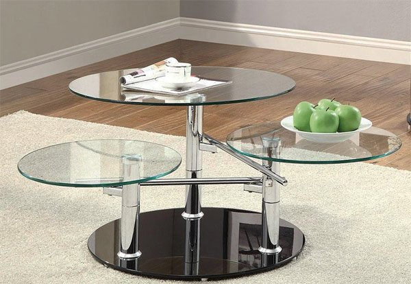 Inimitable Styles Of Swiveling Glass Coffee Table