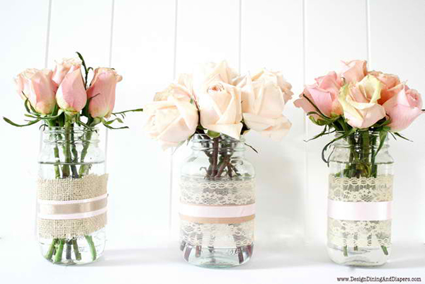 Recycled Jars Lace Vases