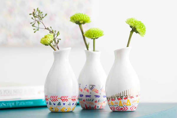 DIY Remix: Pattern-Dipped Bud Vases