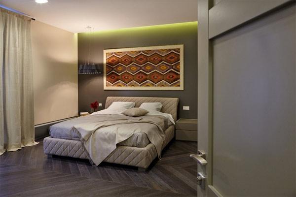 sophisticated wide bedroom