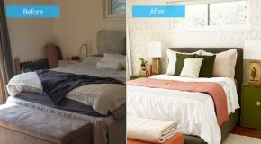 Before and After Photos of a Moss and Coral Bedroom Makeover