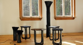 Rustic Home Items Made of Pressed Wood in Black by Johannes Hemann