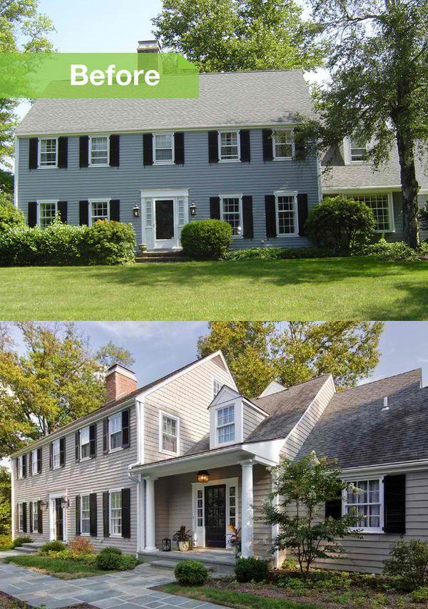 Before and after photos of a modernized 1970s new jersey for Modern colonial home exterior