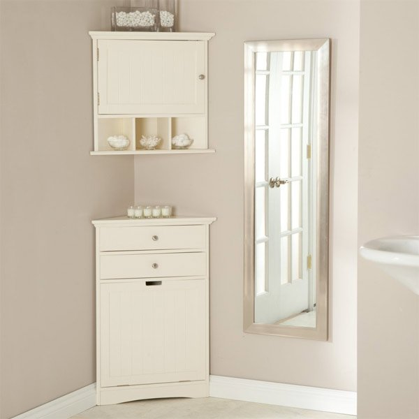 wooden white commode - 20 Corner Cabinets To Make A Clutter-Free Bathroom Space Home