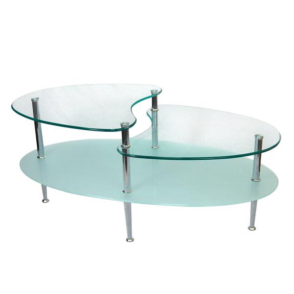 oval shape modern glass table