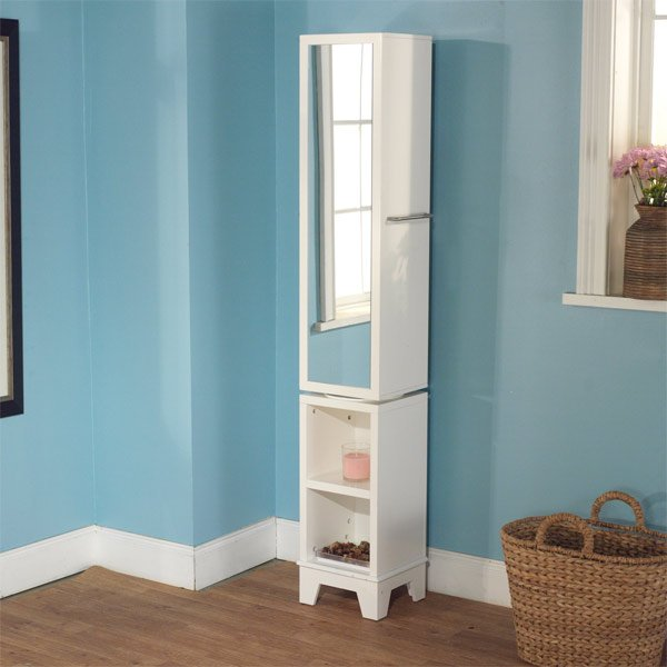 standing tall corner bathroom cabinet