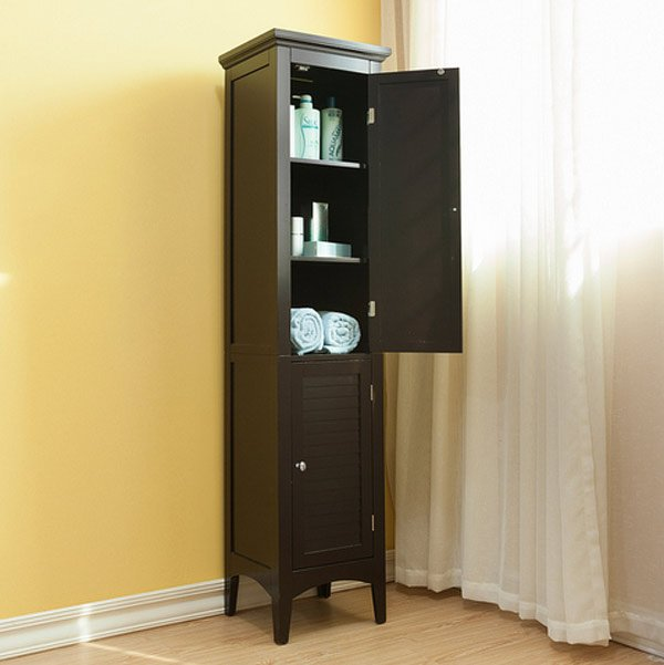 veneer wood corner bathroom cabinet